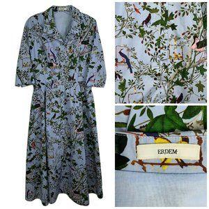ERDEM Kasia Dress 8 Blue Floral Bird Print Midi Sh